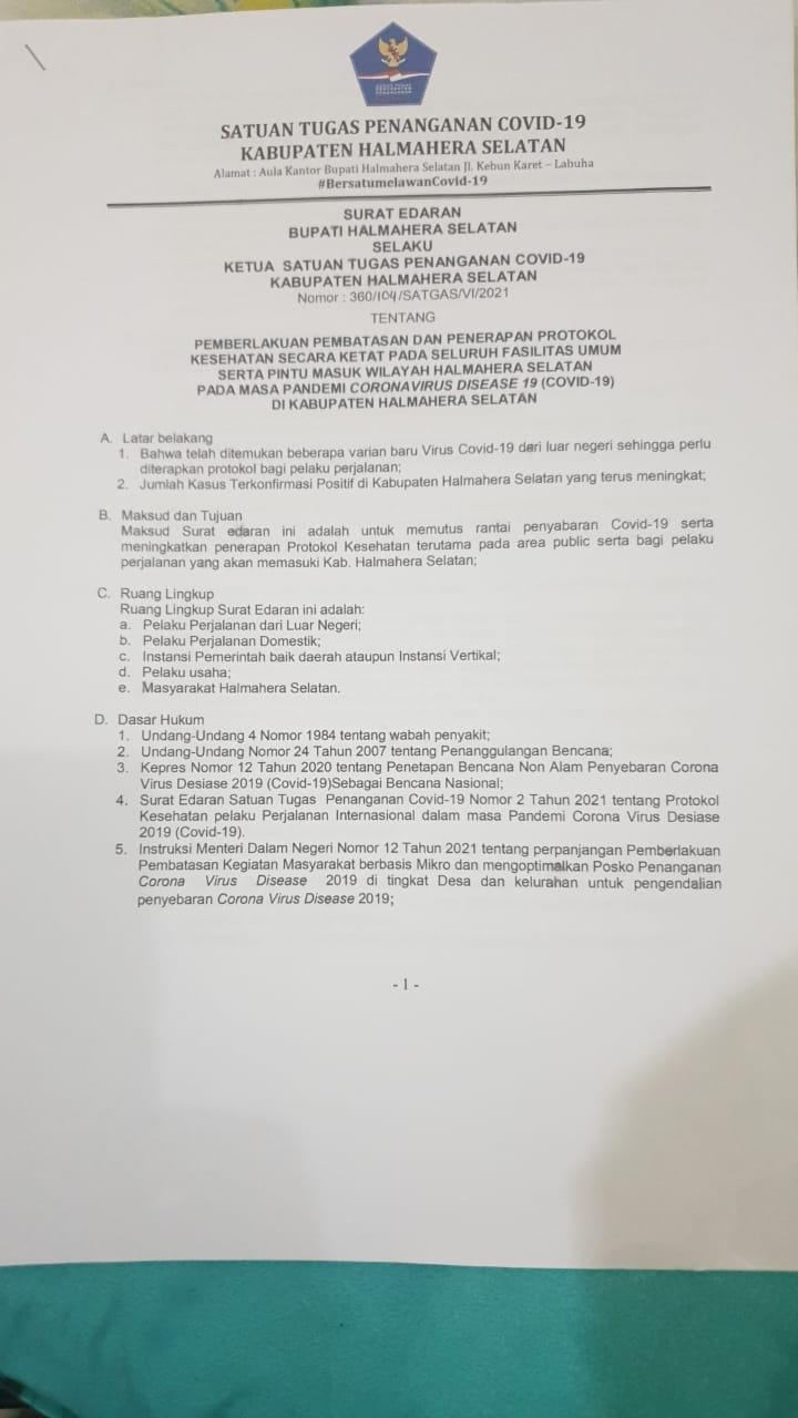 Bupati Halsel Keluarkan Surat Edaran Terkait, Pemberlakuan Pembatasan Dan Penerapan Covid19 Di Halsel