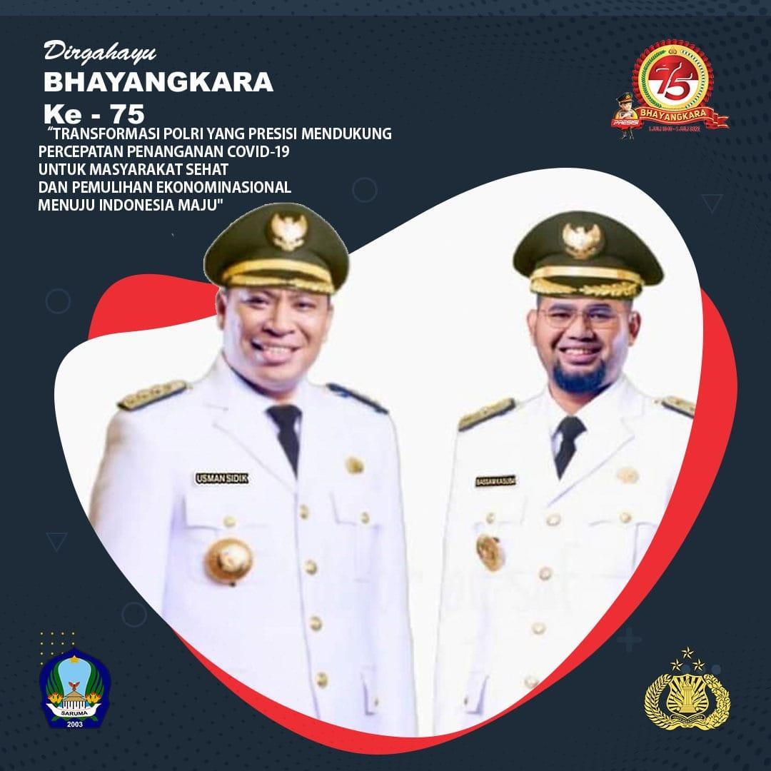 Bupati Dan Wakil Bupati Halmahera Selatan Mengucapkan Dirgahayu Bhayangkara Ke -75. 1 Juli 2021. 1 Juli 2021